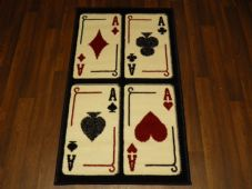 Modern Aprox 4x2 60cmx110cm Novelty Playing Cards New Rug Woven Backed Nice Mats